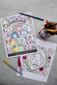 Justin's free printable coloring pages with dogs and nut butter jars filled in with various colors