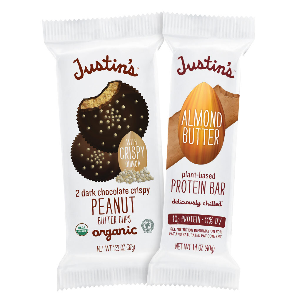 Justin's Dark Chocolate Crispy PB cups and Almond Butter Protein Bar