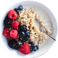 Justin's recipe Vanilla Sweet Cream Berry Oatmeal bowl in a transparent background
