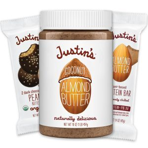 Justin's nut butter jar 16 oz, nut butter cup 1.32 oz, and protein bar 1.4 oz