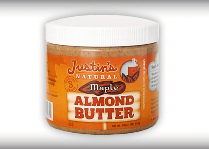 Old packaging of Justin's Natural Maple Almond Butter jar 16 oz