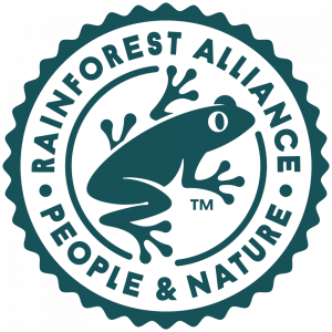 Official logo for Rainforest Alliance in green