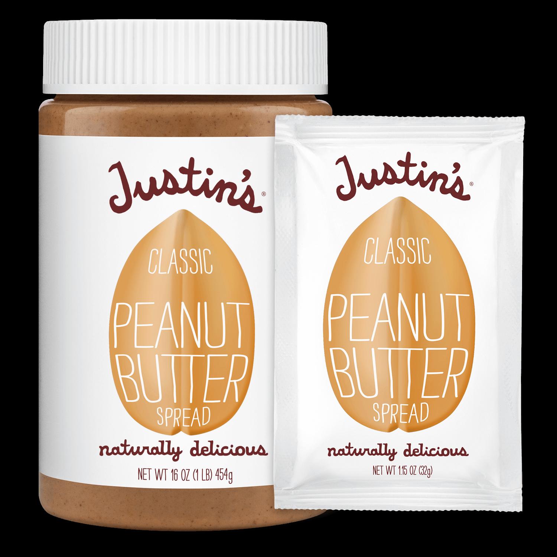 Justin's Classic Peanut Butter Spread jar 16 oz. beside Justin's Classic Peanut Butter Spread Squeeze Pack 1.15 oz.