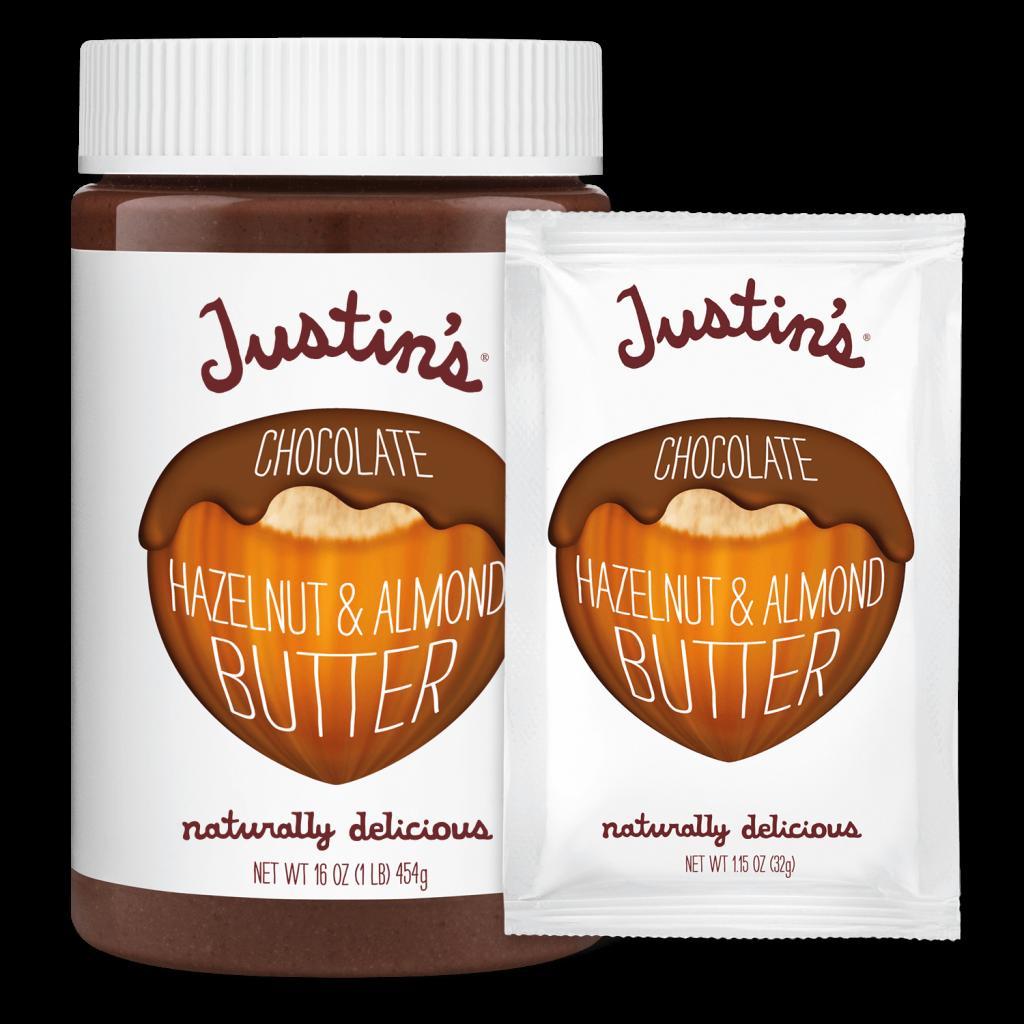 Justin's Chocolate Hazelnut & Almond Butter Spread jar 16 oz. beside its Squeeze Pack 1.15 oz. version