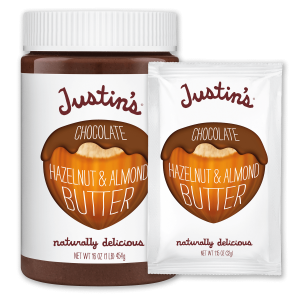 Justin's Chocolate Hazelnut & Almond Butter Spread jar 16 oz. beside its Squeeze Pack 1.15 oz. version