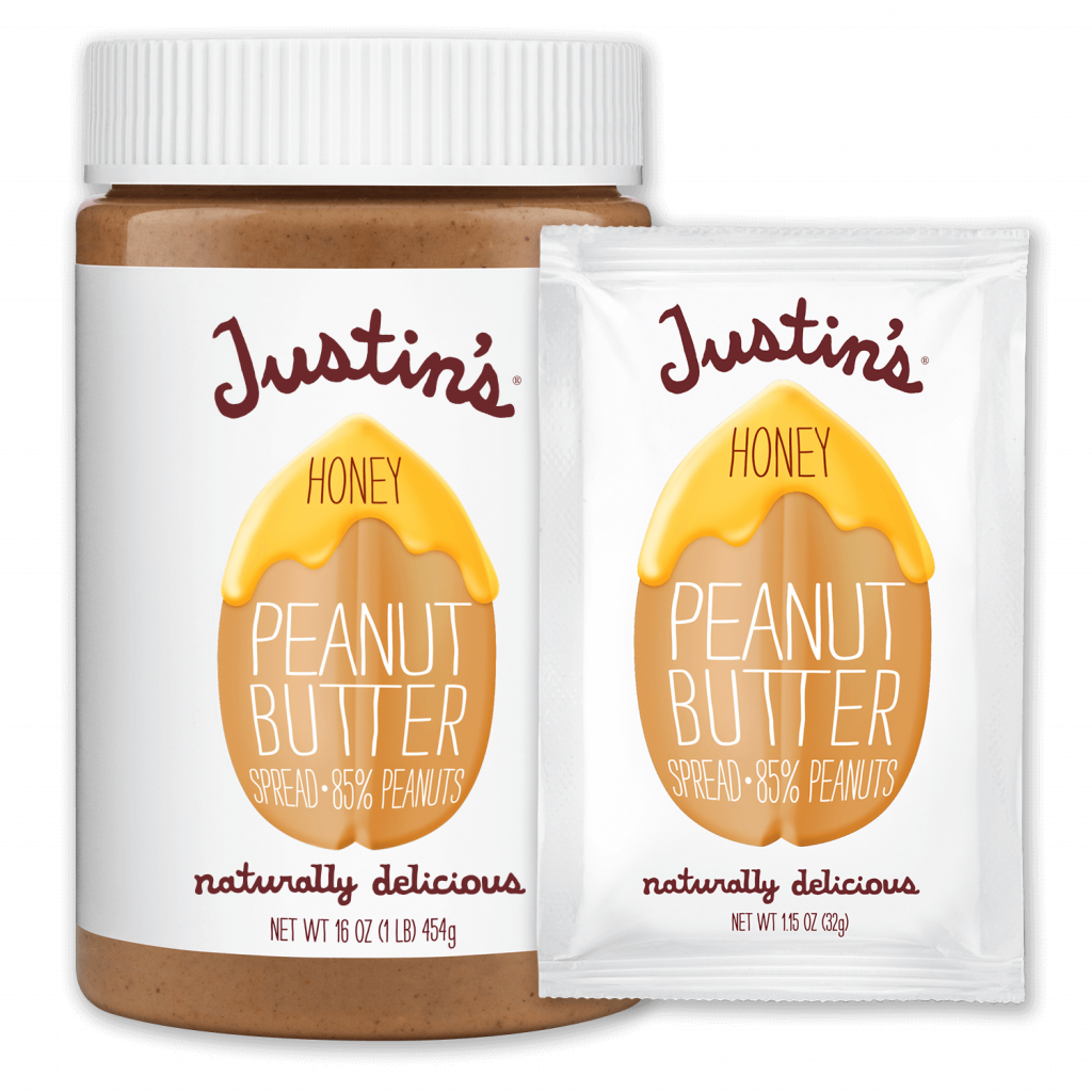 Justin's Honey Peanut Butter Spread jar 16 oz. beside Justin's Honey Peanut Butter Spread Squeeze Pack 1.15 oz.