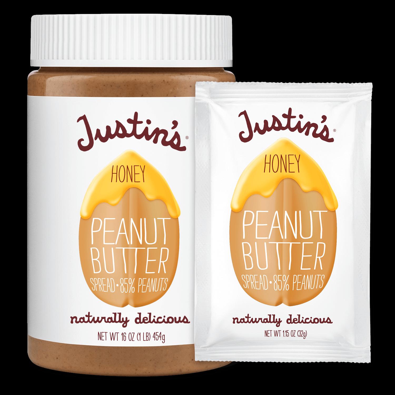 Justin's Honey Peanut Butter Spread jar 16 oz. beside Justin's Honey Peanut Butter Spread Squeeze Pack 1.15 oz.