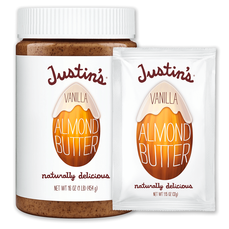 Justin's Vanilla Almond Butter Spread jar 16 oz. beside Justin's Vanilla Almond Butter Spread Squeeze Pack 1.15 oz.