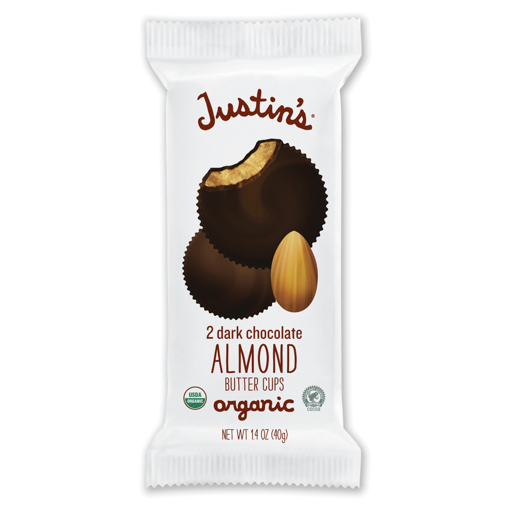 Justin's Dark Chocolate Almond Butter Cups 2-piece packages 1.4 oz.