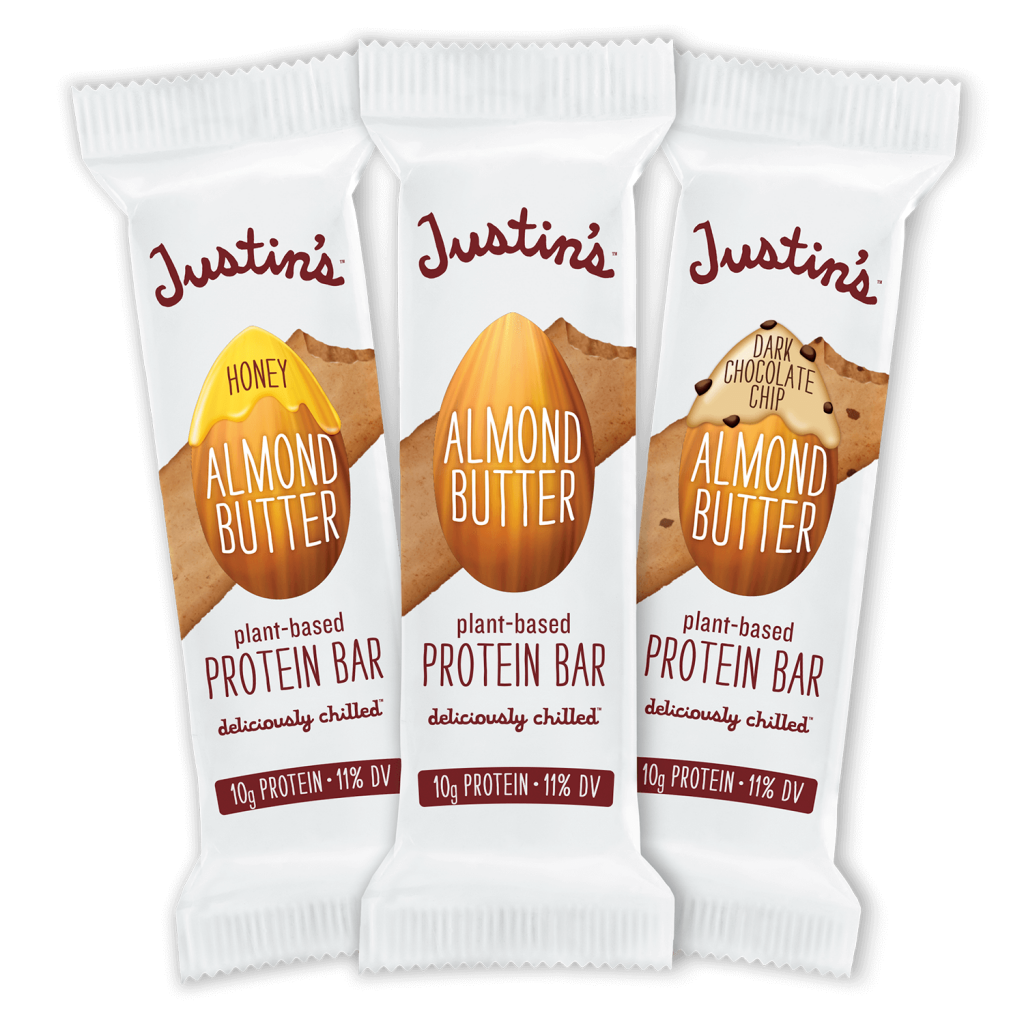 Line up of Justin's plant-based Protein Bar in Honey Almond Butter, Almond Butter, and Dark Chocolate Chip Almond Butter