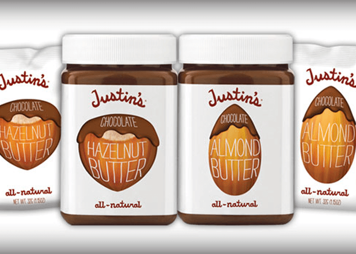 Justin's Chocolate Hazelnut Butter and Chocolate Almond Butter in jar and spread squeeze pack 1.15 oz