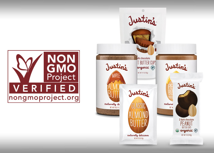Non GMO certification next to Justin's Milk Chocolate PB cups, Nut Butter, and Almond Butter squeeze pack
