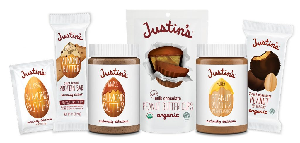 Justin's Product Family Shot includes Nut Butters, Nut Butter Cups, and Snacks