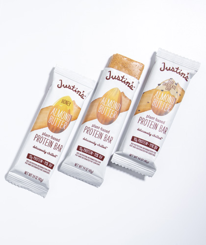 Justin's Almond protein bars on white background