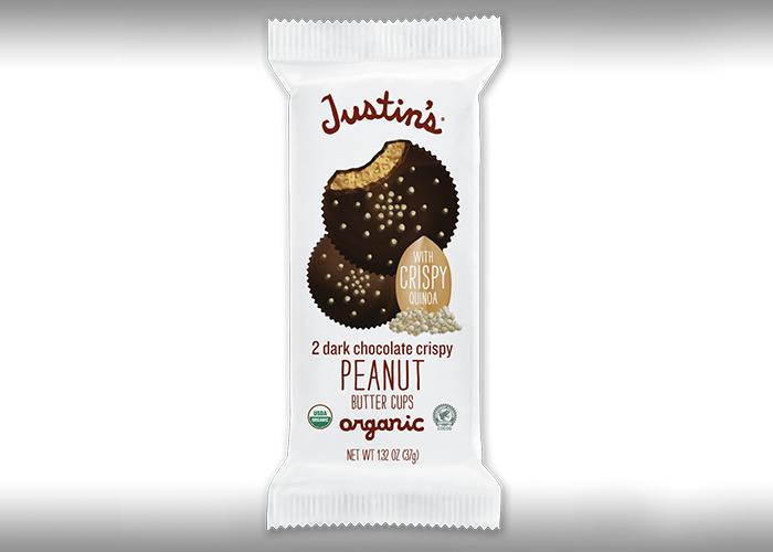 Justins 2 dark chocolate crispy peanut butter cups package