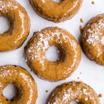 paleo maple almond butter glazed doughnuts